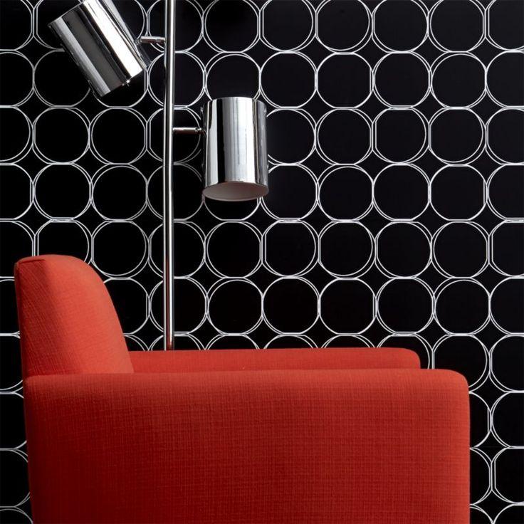 orbit large black self adhesive wallpaper