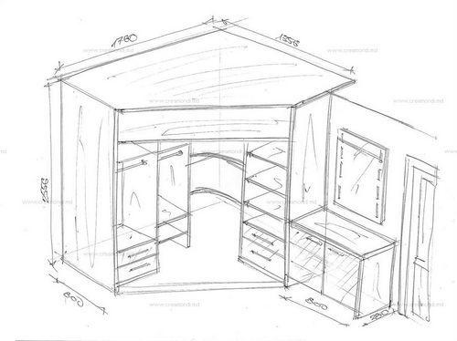 Встроенный угловой шкаф своими руками чертежи и схемы 32