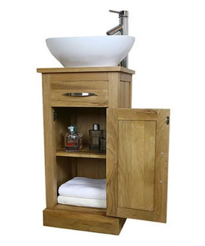 Solid Light Oak Bathroom Vanity Unit Small Cloakroom Sink Vanities Su