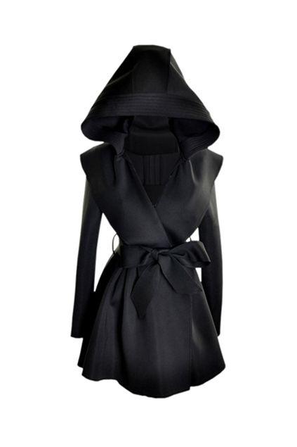 Slim Hooded Black Trench Coat..