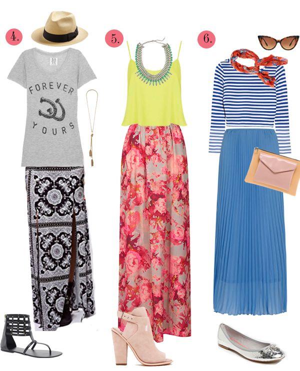 6 ways to wear maxi skirts looks
