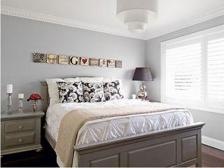 light grey walls with dark grey bedroom furniture