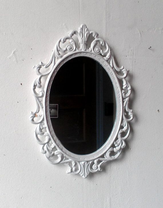 Fairy princess mirror ornate vintage frame in glossy for Floor mirror italian baroque rococo style in lacquer finish