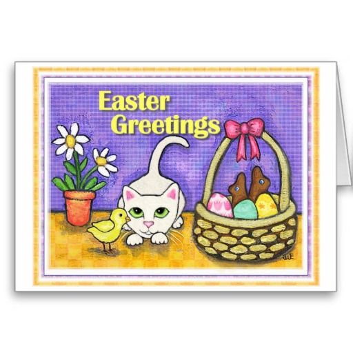 easter cat amp chick greeting card