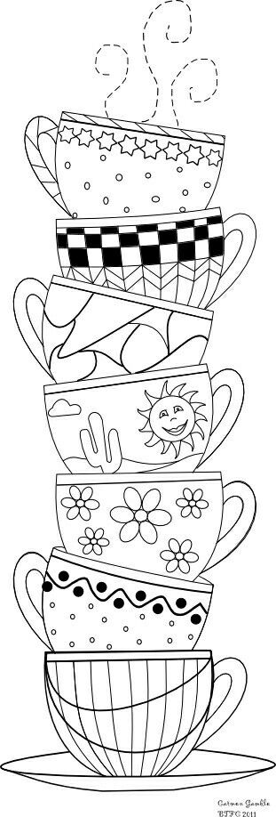 Vintage teacup coloring coloring pages for Free printable tea cup coloring pages