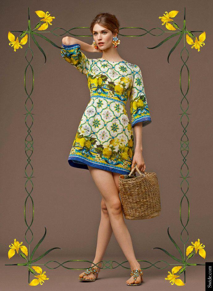 Dolce & Gabbana осень 2014 Преколлекция женской: майолика и лимоны Распечатать Brocade платье