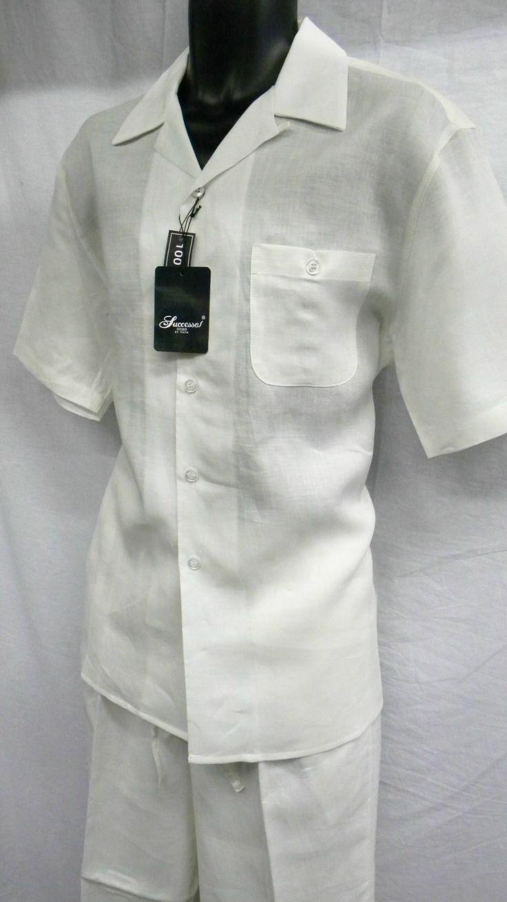Successo Mens Short Sleeve Off White Linen Pant Suit 1065
