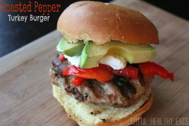 Roasted Pepper Turkey Burgers - JoyfulHealthyEats