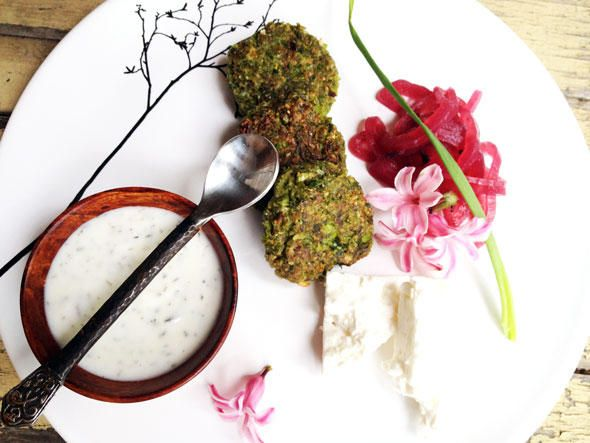 Spring Pea Falafel with Pickled Onions and Yogurt Mint Sauce from our ...