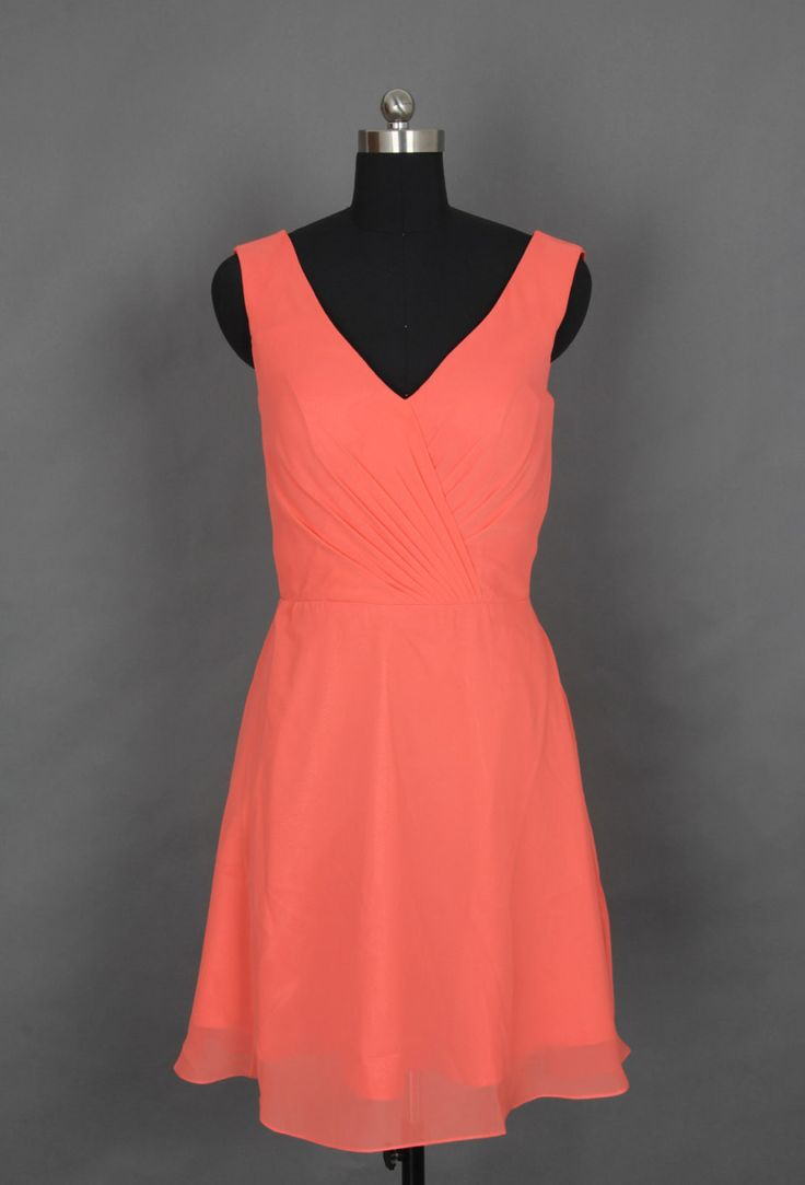 Coral v neck short bridesmaid dress prom dress for Prom dresses that look like wedding dresses