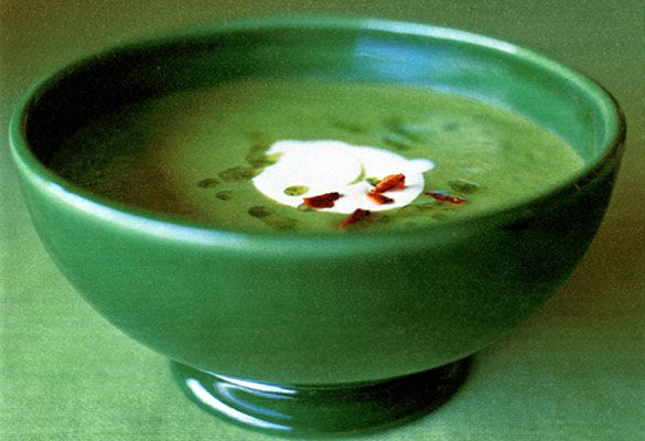 Spring Pea Soup with Chive Oil and Crème Fraîche | Recipe