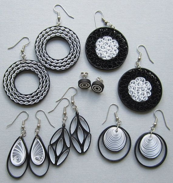 Quilling Earrings Black and White