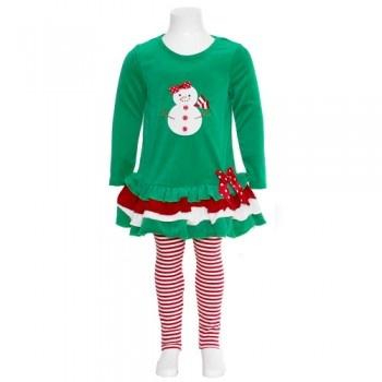 Bonnie jean christmas snowman dress leggings outfit baby girls 12m 4t