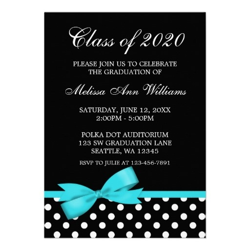 Teal Bow Polka Dots Graduation Announcement--Comes in pink, red ...