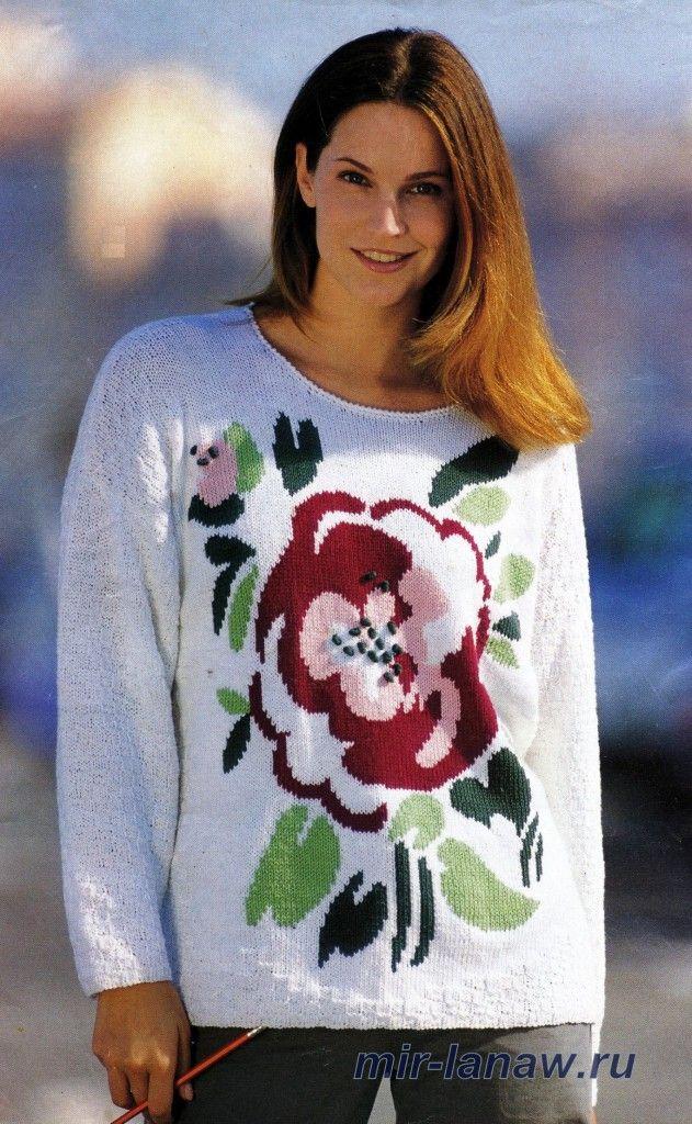Кто вязал пуловер с цветком