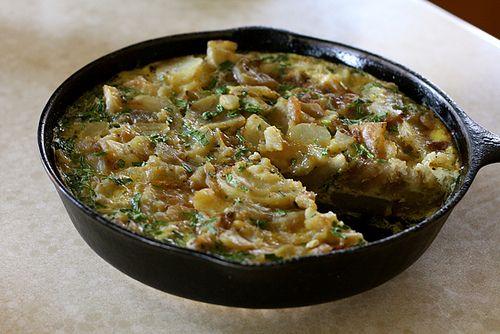Potato Frittata (more potatoes than eggs, carmelized onions, fresh ...
