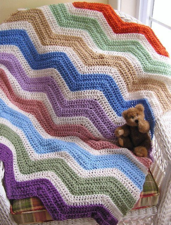 chevron zig zag crochet knit baby blanket toddler afghan shabby rainb ...