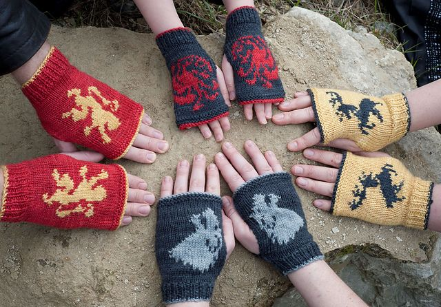 Free Crochet Pattern Game Of Thrones : Game of Thrones: House Stark Mitts Kit pattern by Anna ...