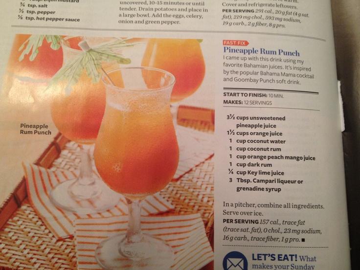 Pineapple rum punch   Beverages   Pinterest