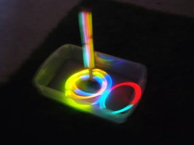 Glow in the dark ring toss.  Great idea for camping trip.