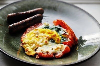 Marriage Factory: Eggs Baked with Spinach and Feta in Tomato Shell