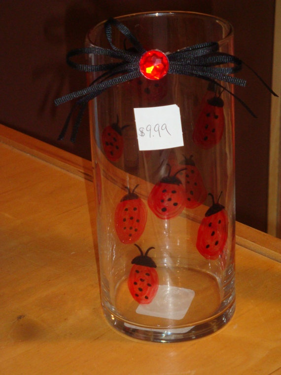 Beautiful Red and Black Ladybug Vase - Wedding Centerpiece - Home Decor - Birthday Decoration. $9.99, via Etsy.