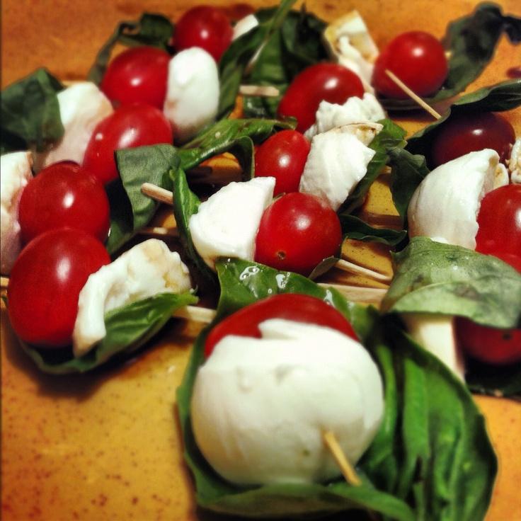 Homemade Caprese Skewers: toothpick, pearl mozzarella balls, grape ...
