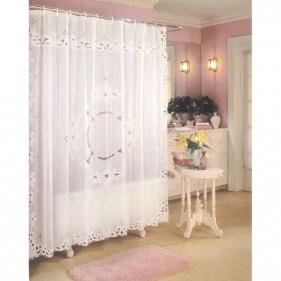 White Vinyl Lace Shower Curtain