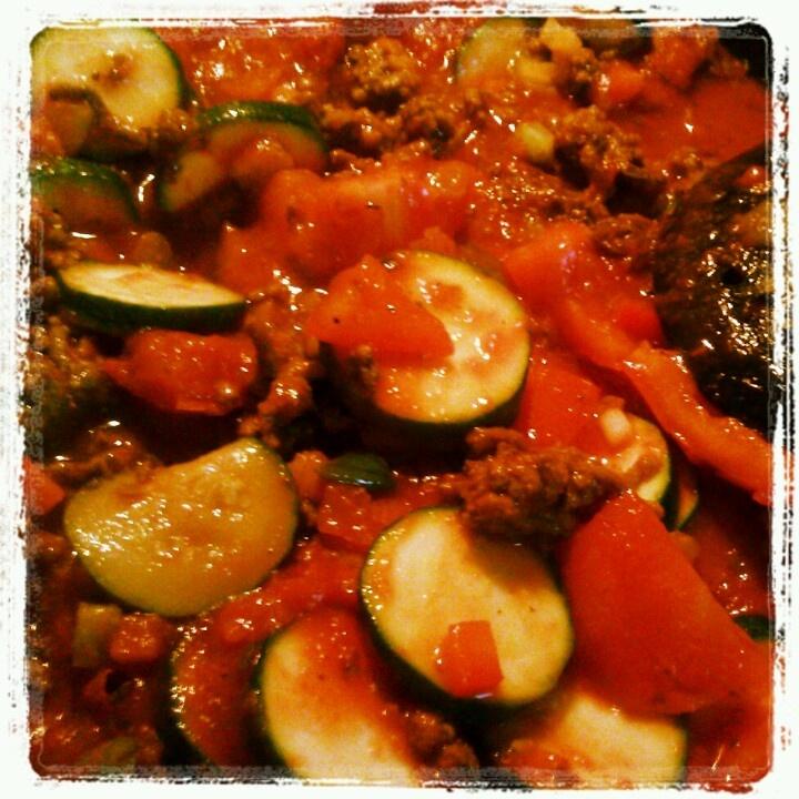 Preparing my baked spaghetti with zucchini squash. I used Ragu sauce ...