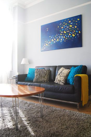 Grey yellow and blue living room home wants dreams just som