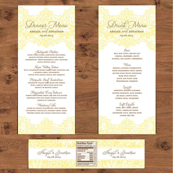 Dinner menu table number escort card menu ideas for Table 6 brunch menu