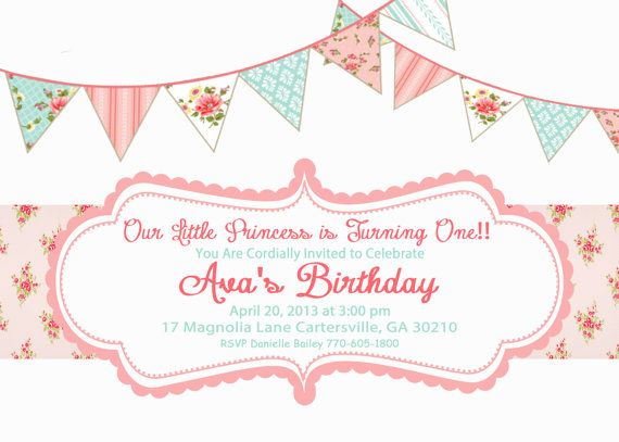 Shabby Chic Vintage Girls Birthday Party Bridal or Baby Shower Invitation Digital Pink Blue Yellow on Etsy, $15.00