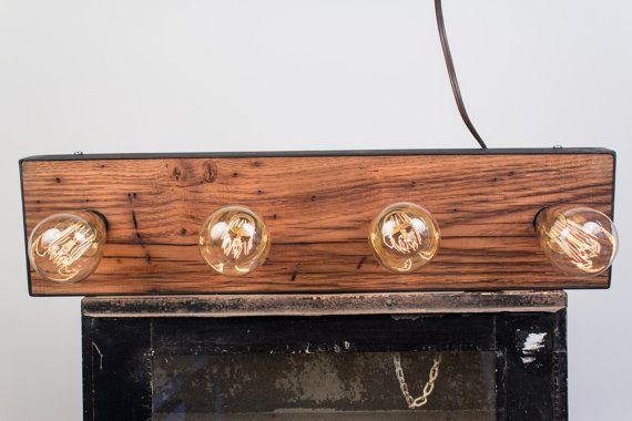 Vanity Lights With Wood : Reclaimed Wood and Steel Vanity Light -UL Listed