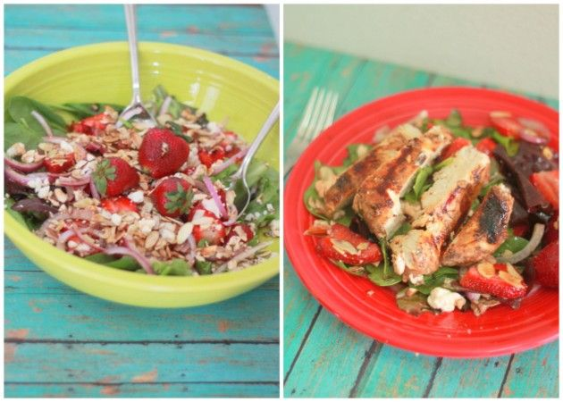 Strawberry Feta Salad with Optional Balsamic-Basil Grilled Chicken -I ...