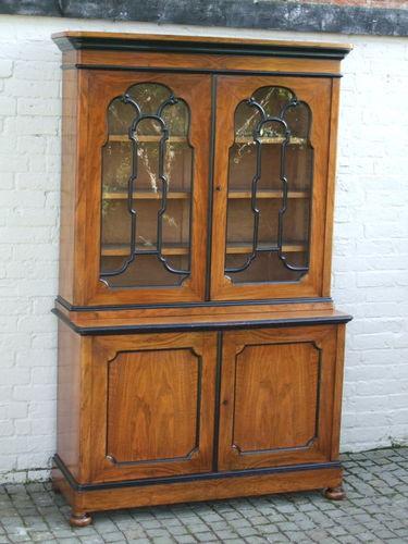 victorian walnut library bookcase dresser display cabinet ebay