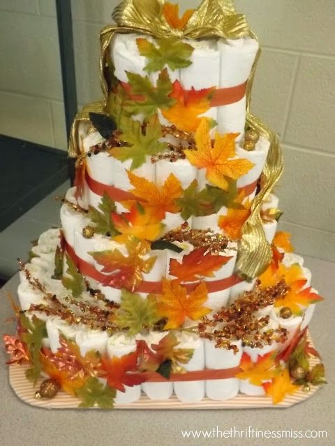 fall themed diaper cake for an october baby shower diapercake