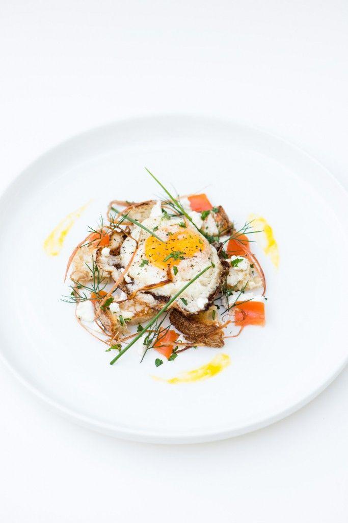 Fried Egg on Sourdough, Swiss Chard, Goat Cheese, & Herbs | Recipe