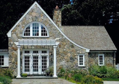 home exterior stone white trim architectural study