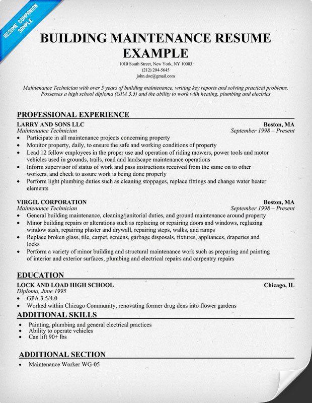 sample resume for maintenance maintenance manager resume