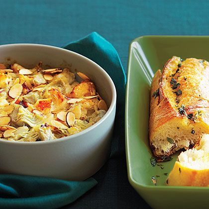Warm Crab and Artichoke Dip with French Bread | Recipe