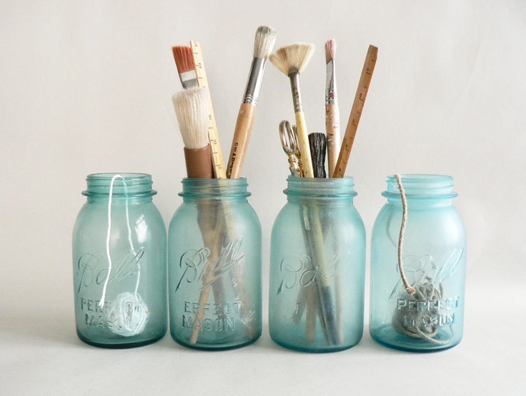 Frosted Turquoise Blue Canning Jars