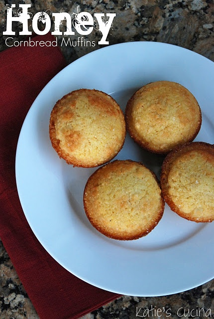 Honey Cornbread Muffins- instead of 1/2 cup sugar I used 1/4 C sugar ...