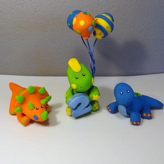 Dinosaur Cake Decorations Toppers : 3 Custom Dinosaur Cake Topper for Birthday or Baby Shower