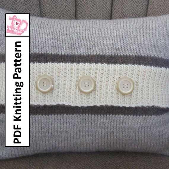 Button Stripe 12x16 pillow cover - PDF KNITTING PATTERN