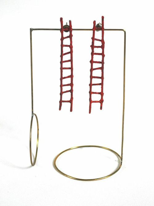Liisa Hashimoto, Red Ladder Earrings, 2014, Sterling silver, acrylic paint