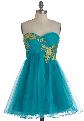Garden Cotillion Dress in Teal