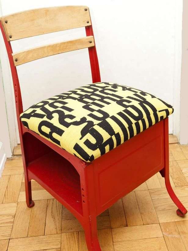 Chairs and Ottomans: Vintage Makeovers and Upcycled Seating: An old school chair was given a fresh coat of paint and a new upholstered seat to give it a funky fresh look.  From DIYnetwork.com