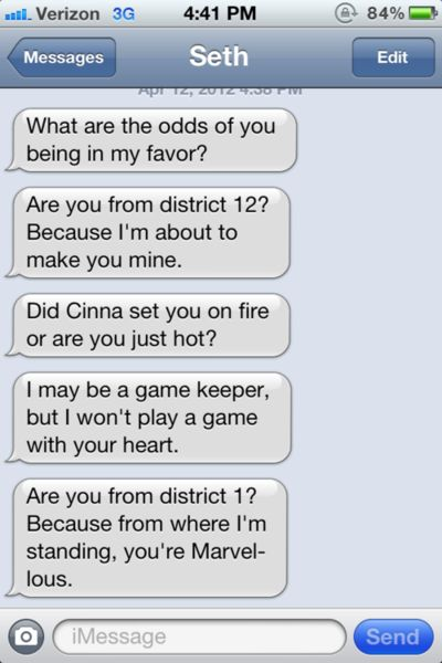 Hunger Games Pick-up Lines #College #TheHungerGames #Funny