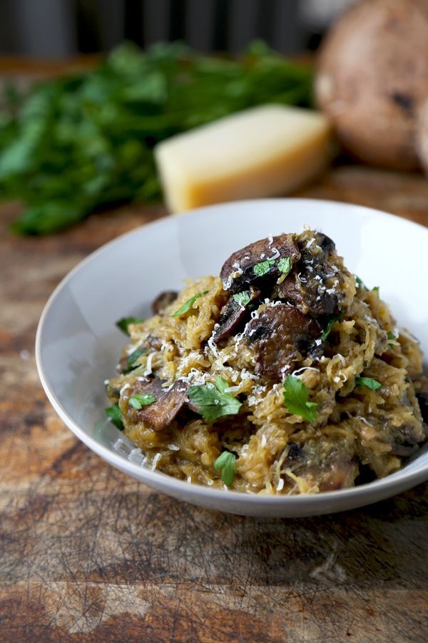 Spaghetti squash with mushrooms and parmesan    I fixed this and it's excellent!!  Barb