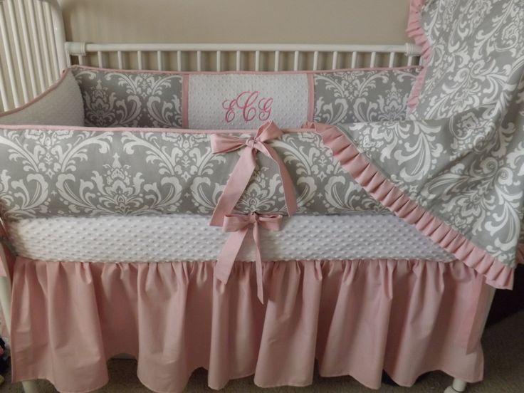 Pink And Gray Damask Baby Bedding Crib Set Deposit